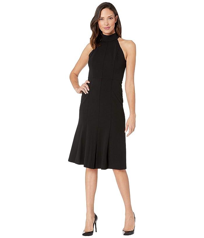 Donna Morgan  Crepe Mock Neck Halter Midi Dress (Black) Womens Dress