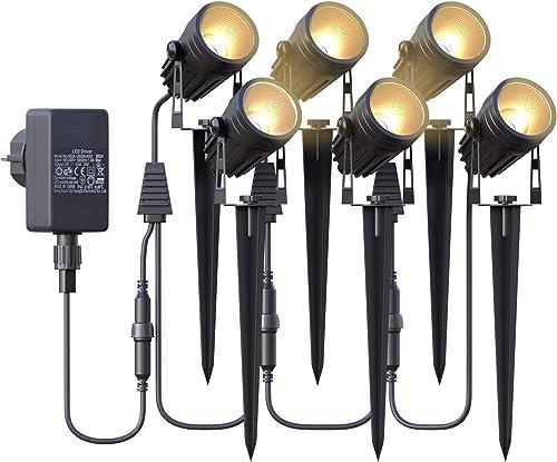 Éclairage de Jardin,Spot LED Extérieur de Jardin Azhien avec Piquet de Terre,Lampe de Jardin 6x3W 1800Lm,Lampe de Jar...