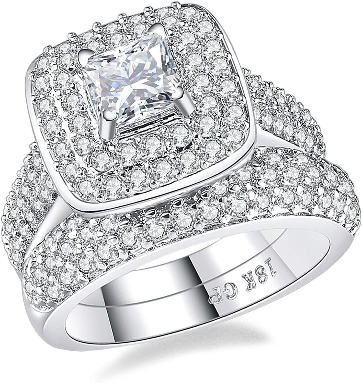 Wedding Rings for Women Princess Engagement Band Bridal Set 18k White Gold Square 1.8Ct Cz Size 5-10