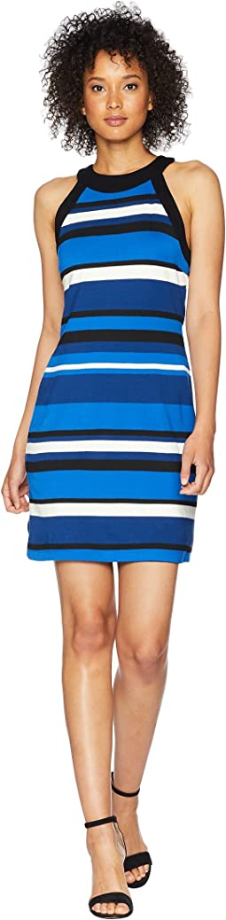 Contrast Modern Stripe Halter Dress