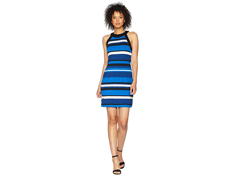 Karen Kane Contrast Modern Stripe Halter Dress (Stripe) Women