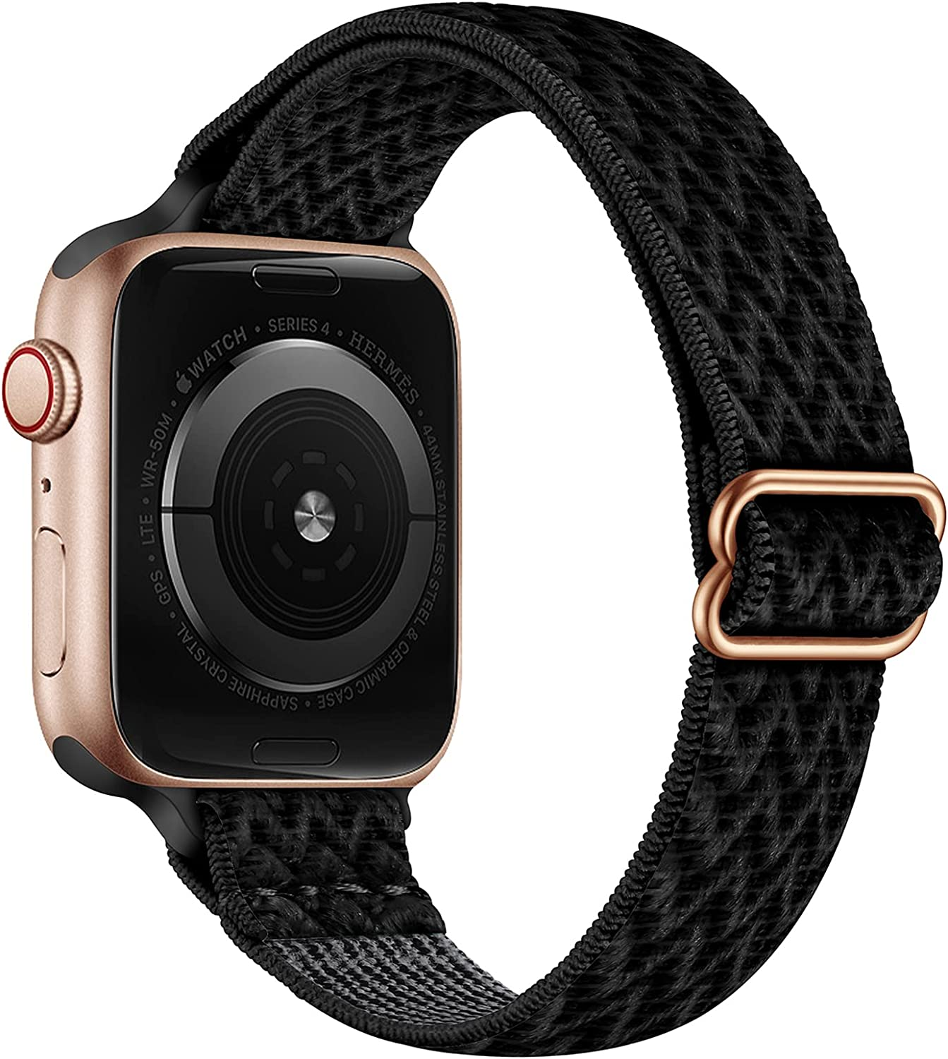 SICCIDEN Slim Stretchy Bands Compatible with Apple Watch Band 41mm 40mm 38mm 45mm 44mm 42mm, Elastics Nylon Thin Band Strap for iWatch SE Series 7 6 5 4 3 2 1 (Dark Black/Rose Gold, 41mm 40mm 38mm)