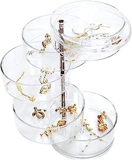 منظم المجوهرات، حامل أقراط صندوق مجوهرات صغير قابل للتدوير من 5 طبقات للنساء، علبة تخزين المجوهرات لتخزين إكسسوارات المجوه...