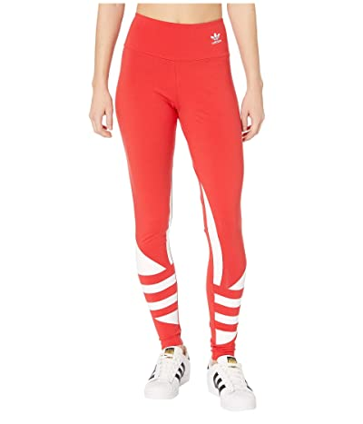 adidas Originals Large Logo Tights (Lush Red/White) Women