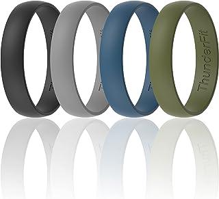 خاتم زفاف من السيليكون من ثاندرفيت للرجال والنساء - 4 خواتم / 1 خاتم مطاطي للخطوبة - 6.3 مم / 5 مم / 4 مم عريض - سمك 1.65 مم