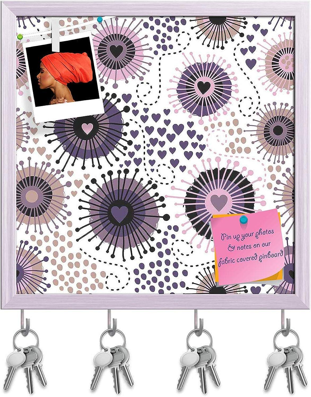Artzfolio Circle & Hearts Key Holder Hooks   Notice Pin Board   White Frame 16 X 16Inch