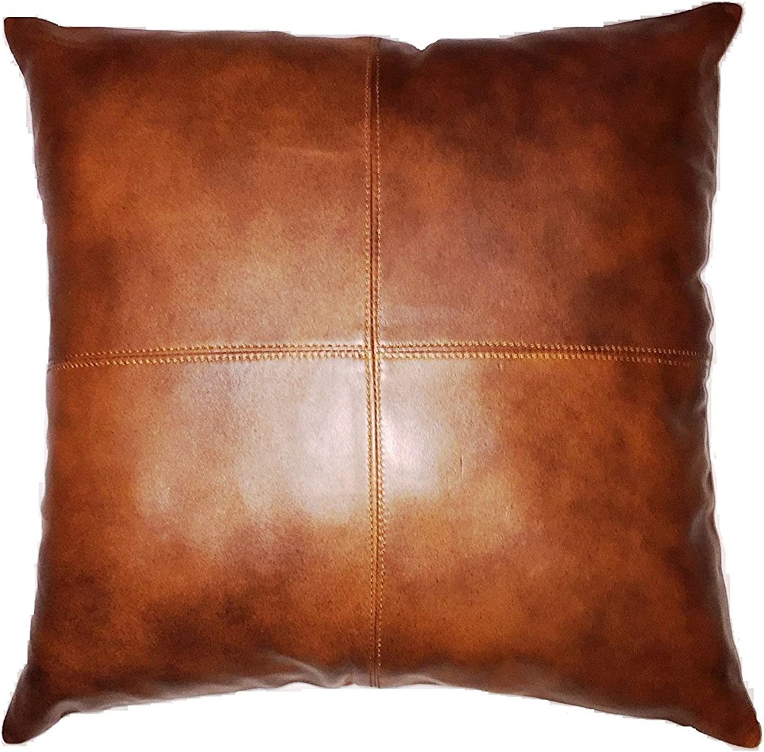 Leather Farm Thick Genuine Leather Pillow Cover TAN Pack of 2 (20''x20'' (2))