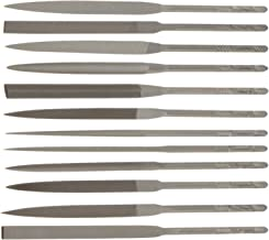 "Nicholson 12 Piece Needle File Set with Handles, Swiss Pattern, Double Cut, #2 Coarseness, 5-1/2"" Length"