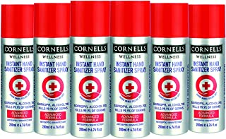 Cornells Wellness Instant Hand Sanitizer Spray, 200ml Silver, Pack of 6, back to school