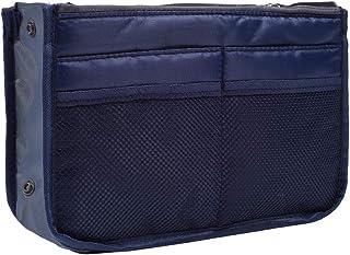 koboome Women Travel Insert Handbag Organiser Purse Large Liner Organizer Tidy BagTravel Double Zipper Cosmetic Bag (Navy ...