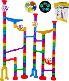 Marble Run Track Toy Set - Translucent Marble Maze Race Game Set by Marble Galaxy - Fun Educational STEM Building Construc...