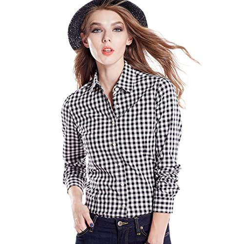 16964833 Tortor 1Bacha Women's Gingham Long Sleeve Button Down Plaid Shirt