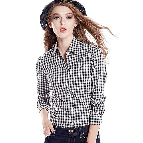 499e13fdc3075 Tortor 1Bacha Women's Gingham Long Sleeve Button Down Plaid Shirt