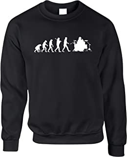 Tim And Ted Evolution of Drummer Musician Drumkit Music Designer Printed Drums Band Pearl Logo Science Unisex Jumper Sweat...