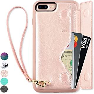 ZVEdeng iPhone 8 Plus Wallet Case, iPhone 8 Plus Card Holder Case, iPhone 7 Plus Wallet Case with Card Holder, iPhone 7 Plus Case for Women, Shockproof iPhone 8 Plus Case with Wrist Strap - Rose Gold