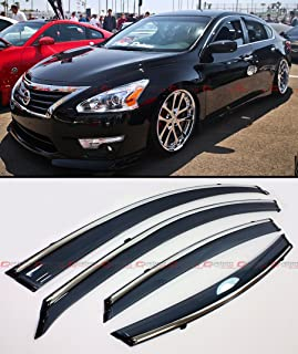 Cuztom Tuning Premium Smoke Tinted Window Visor RAIN Guard Deflector W/Clips & Chrome Trim