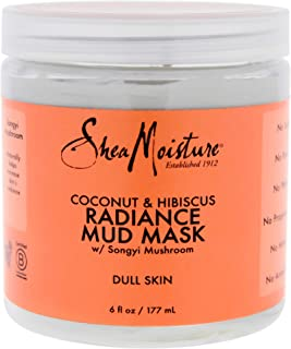 Shea Moisture Coconut & Hibiscus Radiance Mud Mask for Unisex, Dull Skin, 6 Ounce