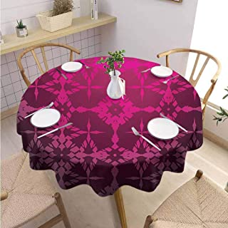 GROGON Modern Round Tablecloth Magenta Victorian Stylized Classical Bound Ornamental Mosaic Patterns in Nostalgic Design Rosewood Buffet Table Holiday Dinner Picnic Diameter 60