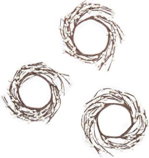 LampLust Fall Candle Rings for Pillars - White Pip Berry on Rustic Twig Wreath, Fits Up to 3 Inch Pillar Candles, Autumn Table Decor or Wedding Centerpiece, Set of Three