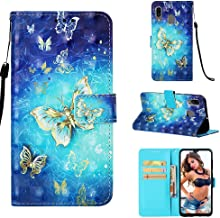 For Galaxy A30 Case Wallet,A20 Case,Voanice PU Leather with Card Slots Holder [Kickstand]Women Men Flip Phone Cases Folio Cover Magnetic Shockproof Protective for Samsung Galaxy A30/A20-Blue Butterfly