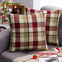MIULEE Pack of 2 Christmas Decorative Throw Pillow Covers Checkered Plaids Tartan Cotton Linen Rustic Farmhouse Square Cushion Case for Bench Sofa Couch Car Bedroom Red and Tan 18x18 inch