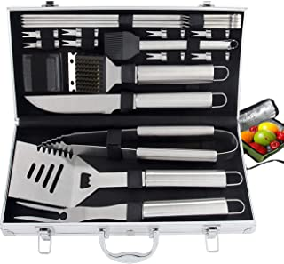 ROMANTICIST 21pc Heavy Duty BBQ Grill Tool Set with Cooler Bag - Great Grill Gift Set for Men Women on Birthday Wedding - Outdoor Camping Tailgating Barbecue Grill Accessories in Aluminum Case