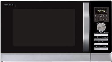 Sharp R843INW Microondas 3 en 1 con aire caliente, grill y convección , 25 L , 800 W , grill 1000 W , 2500 convección , Plato Giratorio de Metal (30 cm) , Plateado