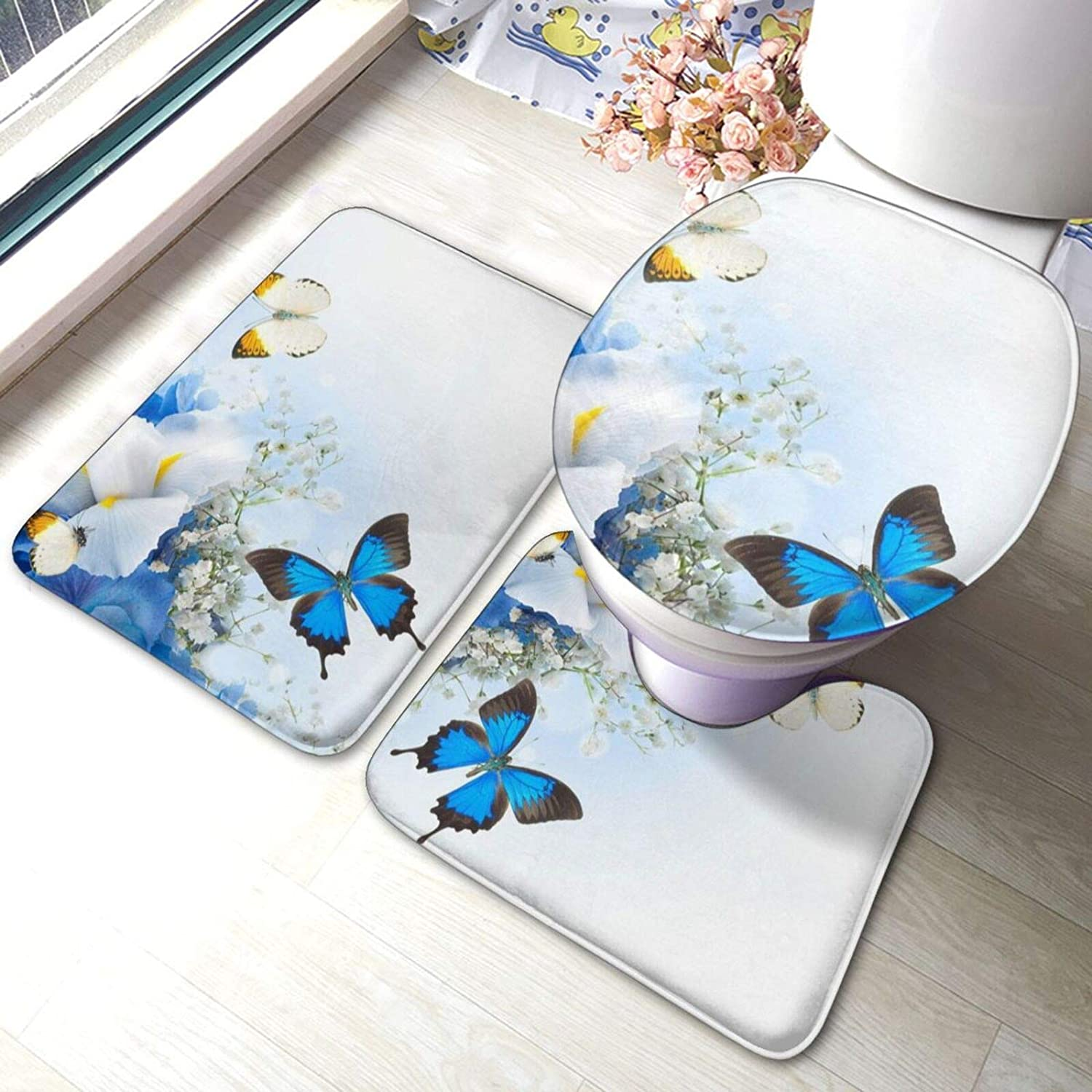 Flowers Luxury and Butterfly Print Bathroom Rugs Piece Ranking TOP17 3 An Fashion Set