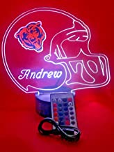 Chicago Bears NFL Light Lamp Light Up Hand Crafted Football Helmet Table Lamp LED with Remote, Our Newest Feature - It's Wow, with Remote 16 Color Options, Dimmer, Free Engraving, Great Gift