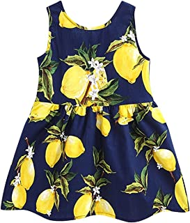 CM-Kid Girls Dress Kid Floral Sleeveless Cotton Sundress Summer Girl Clothes Size 2-7 Years