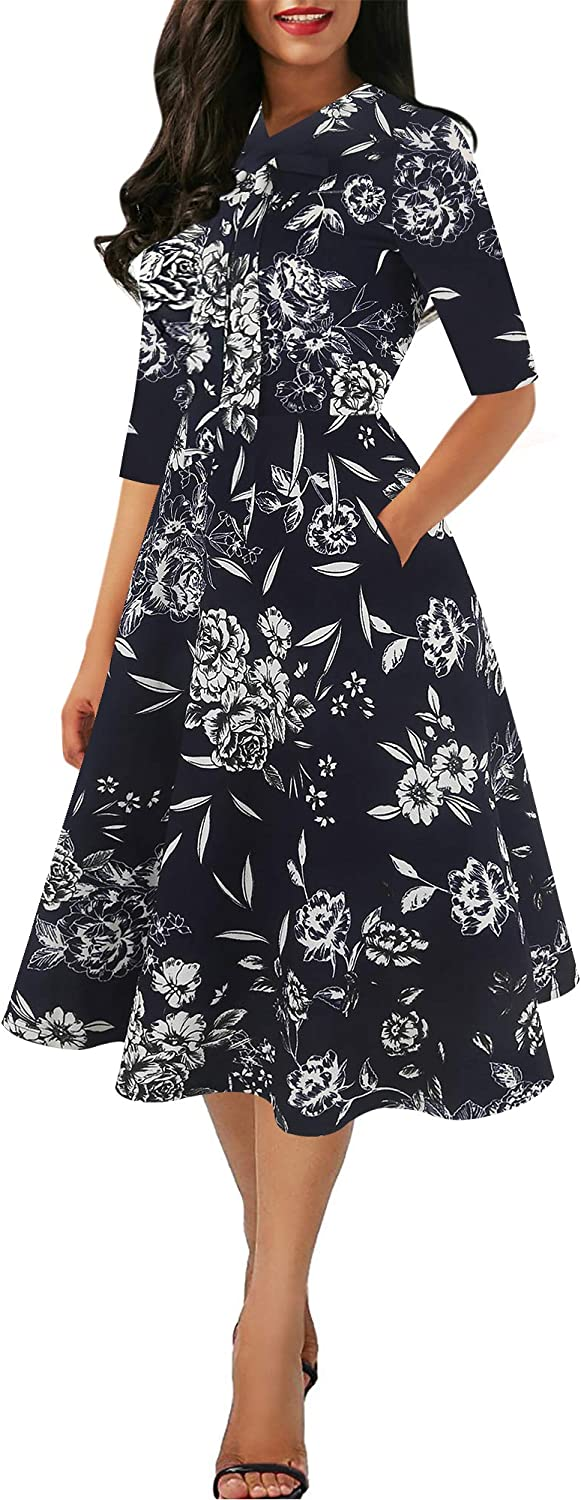 oxiuly Women's Vintage Bow Tie V-Neck Pockets Casual Work Party Cocktail Swing A-line Dresses OX278