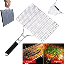 VINIKING Portable Stainless Steel Grill Baskets with Removable Wooden Handle, Perfect BBQ Grilling Cookware for Indoor and Outdoor Cooking