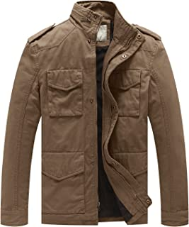 WenVen Men's Cotton Military Casual Stand Collar Windbreaker Field Jacket