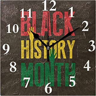 lightly Personalized Customization Black History Month Sunburst Field Wall Clock for Home/Office/Kitchen/Bedroom/Living Room 7.87x7.87Inch