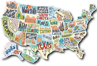 US States Map Travel Tracker Sticker Set | United States Adventure Decals | RV Motorhome Camper or Trailer Accessories | LARGE 22 x 13 in| Road Trip Essentials States Visited USA | Vinyl North America