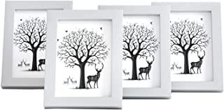 HCoolfly 5 x 7 Picture Frames Made of Solid Wood and High Definition Glass Display Pictures for Tabletop or Wall Mounting Photo Frame White