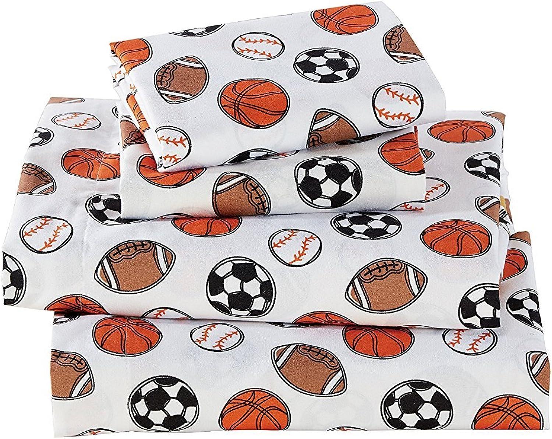 Linen Plus 3pc Crib Toddler Bed Sheet Set Baby Boys and Kids Sports Soccer Basketball Football Baseball White orange Brown Black New