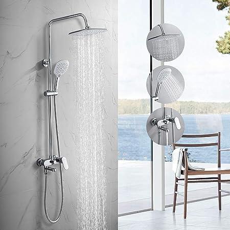 ducha para montaje en pared BONADE Ducha de lluvia sin grifo de acero inoxidable columna de ducha incl duchas y sistema de ducha con desviador Barra de ducha ajustable para ba/ño