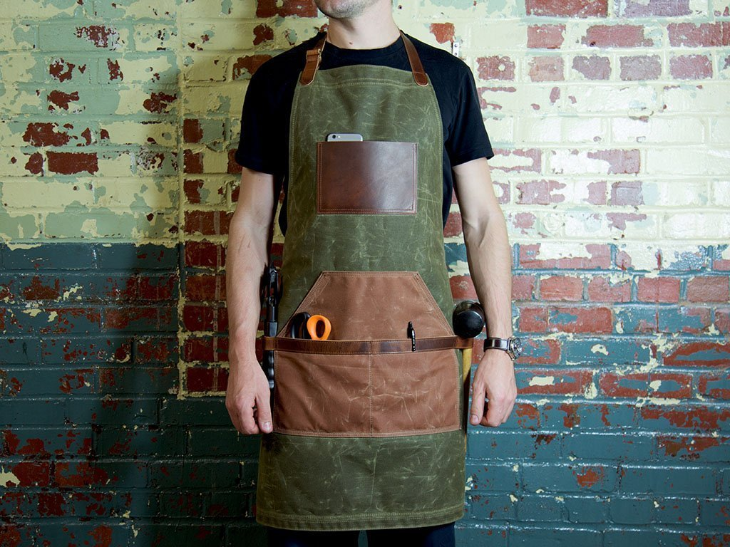 Leather and Canvas Apron, Waxed Canvas Apron, Work Apron, Green ...