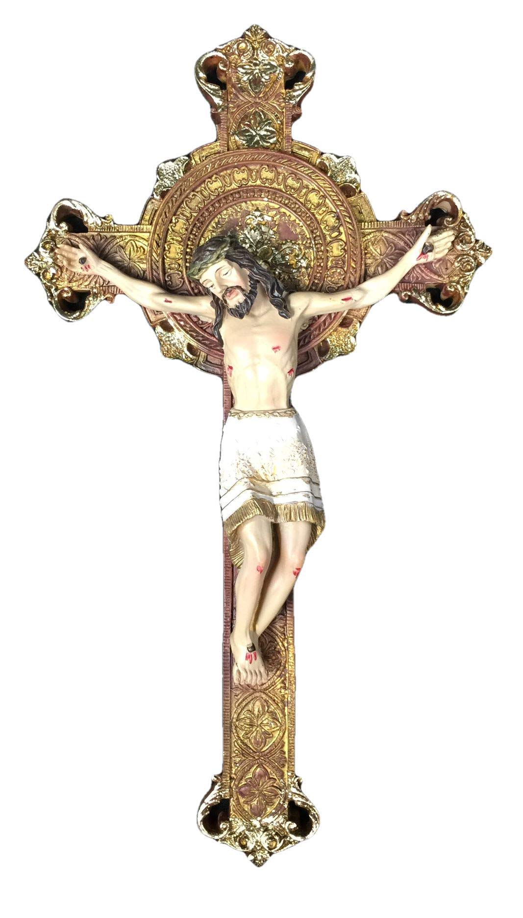 Osiris Trading UK Crucifix Hanging Wall Cross Resin Corpus Christi Jesus Christ Religious Ornament