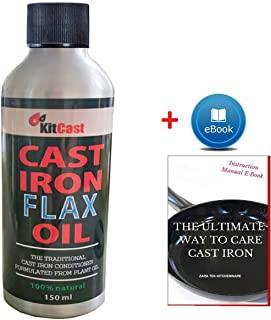 KitCast Natural Cast Iron Flax Oil with Free eBook, 150ml