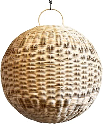 Medium Beautiful raw Rattan Globe Style Ceiling Pendant Lantern Light Fixture. Beautiful Intricate Hand Crafted Detail. Great Design Piece for Your Home!