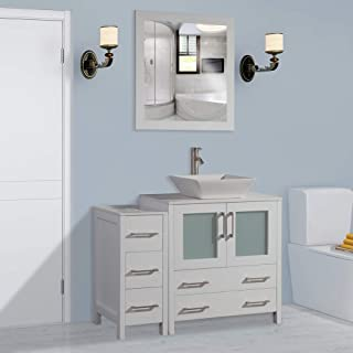 Vanity Art 42 inch Single Sink Bathroom Vanity Combo Set 5-Drawers, 1-Shelf, 2 Cabinet White Quartz Top and Ceramic Sink Bathroom Cabinet with Free Mirror - VA3130-42-W