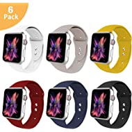 VATI Sport Band Compatible with Apple Watch Band 38MM 40MM 42MM 44MM, Soft Silicone Sport Bands...