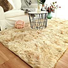 Modern Shaggy Rugs Fluffy Soft Touch Dazzle Sparkle Area Rug Carpet Large for Living Room Bedroom Floor Mat (Light Camel,1...