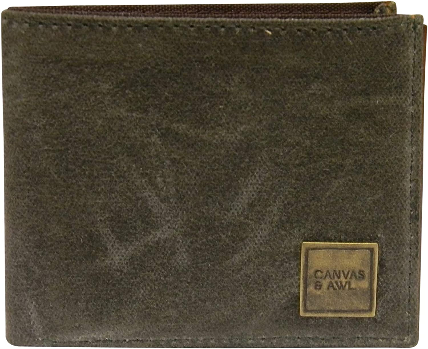 CANVAS & AWL Waxed Canvas & Leather Slim Bifold Wallet for Mens