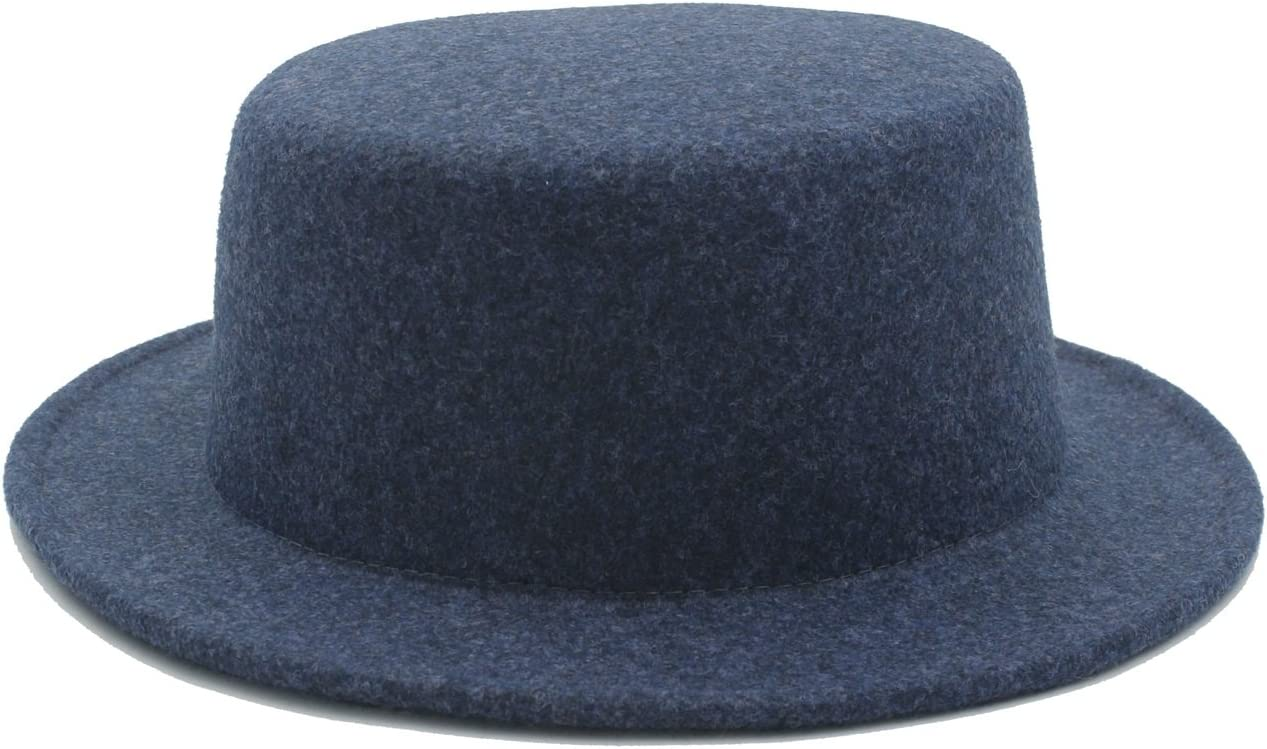 GR Fedora Hat Boater Flat Top Hat for Women's Men' Felt Wide Brim Feltro Gambler Prok Pie (Color : 3, Size : 57-58CM)