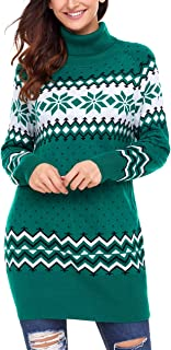 Womens Long Sleeve Snowflake Knit Turtleneck Jumper Long Ugly Christmas Sweater Tops