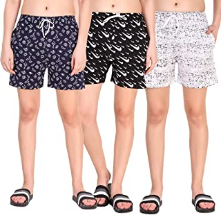 Kavya Retail Casual Wear Cotton Fabric Check Printed Shorts for Women's and Girl's Pack of 3 |Size-26, 28, 30, 32, 34| Color-Multicolor