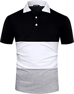Musen Men Short Sleeve Polo Shirts Casual Cotton Modern Fit Color Block Rugby Polo T-Shirts Tops